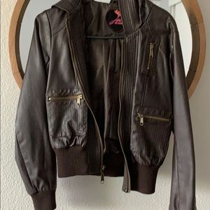 Brown faux leather jacket with hood